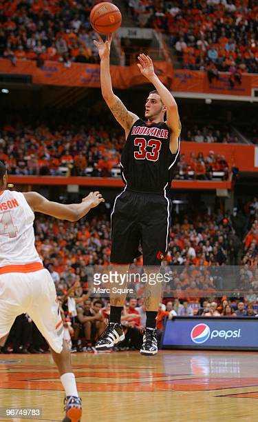 Mike Marra of the Louisville Cardinals shoots the ball during the game against the Syracuse Orange at the Carrier Dome on February 14, 2010 in...