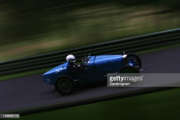 Mike Marshall drives the Bugatti Type 35B during the Vintage Sports Car Club Prescott Hill Speed Climb at the Prescott Hill on August 5 2012 near...
