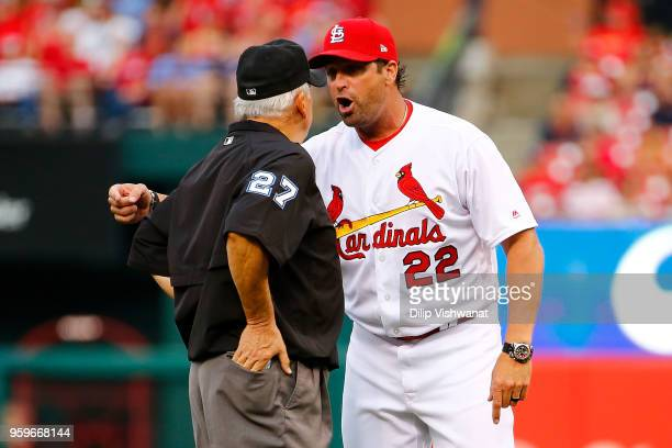 Mike Matheny of the St Louis Cardinals argues a call with Larry Vanover in the first inning at Busch Stadium on May 17 2018 in St Louis Missouri