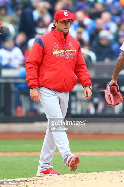 Mike Matheny of the St Louis Cardinals looks on against the New York Mets on Opening Day at Citi Field on March 29 2018 in the Flushing neighborhood...