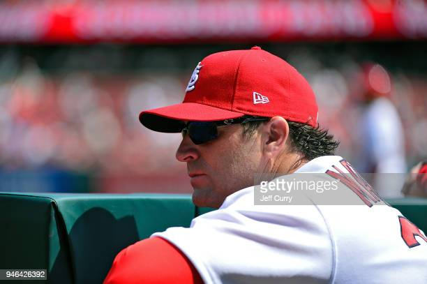 Mike Matheny of the St Louis Cardinals looks on during the first inning against the Milwaukee Brewers at Busch Stadium on April 11 2018 in St Louis...