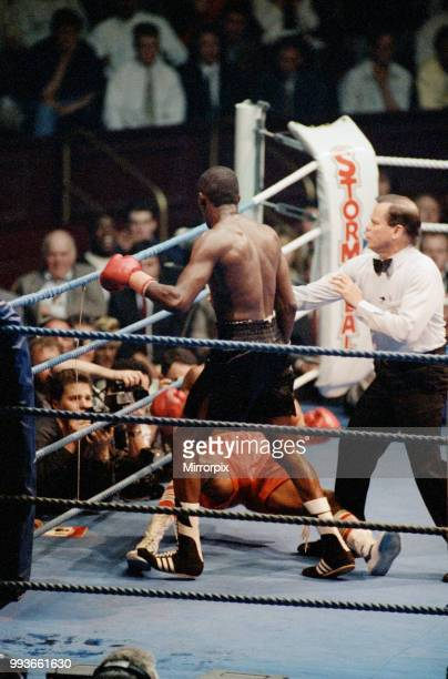 Mike McCallum vs Michael Watson for the WBA middleweight title. Royal Albert Hall, London, England. Watson was knocked out in the 11th round, 14th...