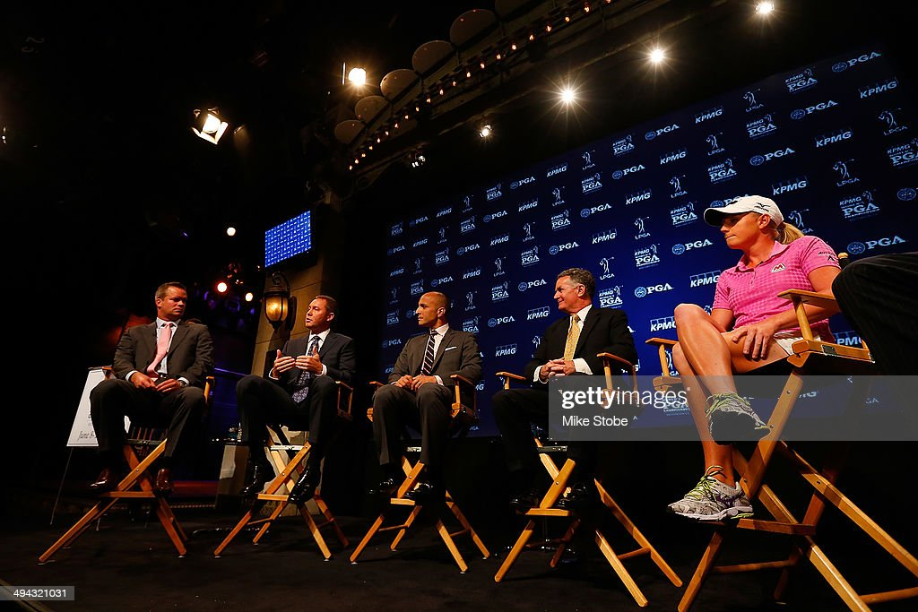 Mike McCarley, President, Golf Channel, Mike Whan, Commissioner, LPGA Tour, Pete Bevacqua, CEO, PGA of America, John Veihmeyer, Chairman, KPMG and Stacy Lewis, LPGA Professional speak to the media during a press conference to announce a KPMG Women's PGA Championship on May 29, 2014 at the NBC Studios in New York City.