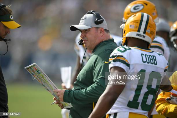 Mike McCarthy head coach of the Green Bay Packers at Los Angeles Memorial Coliseum on October 28 2018 in Los Angeles California