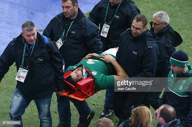 Mike McCarthy of Ireland injured leaves the field during the RBS 6 Nations match between France and Ireland at Stade de France on February 13 2016 in...