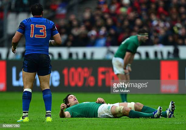Mike McCarthy of Ireland lies injured during the RBS Six Nations match between France and Ireland at the Stade de France on February 13 2016 in Paris...