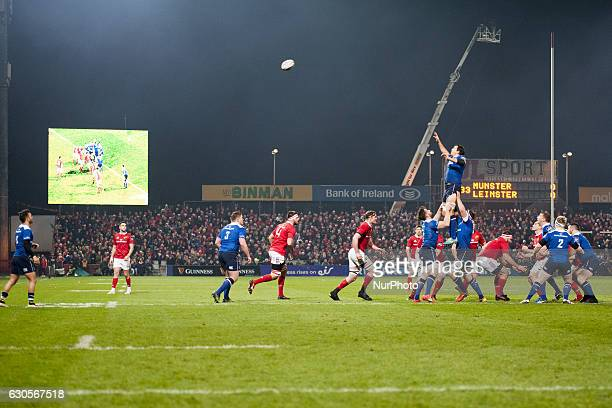Mike McCarthy of Leinster tries to catch the ball during the Guinness PRO12 Round 11 match between Munster Rugby and Leinster Rugby at Thomond Park...