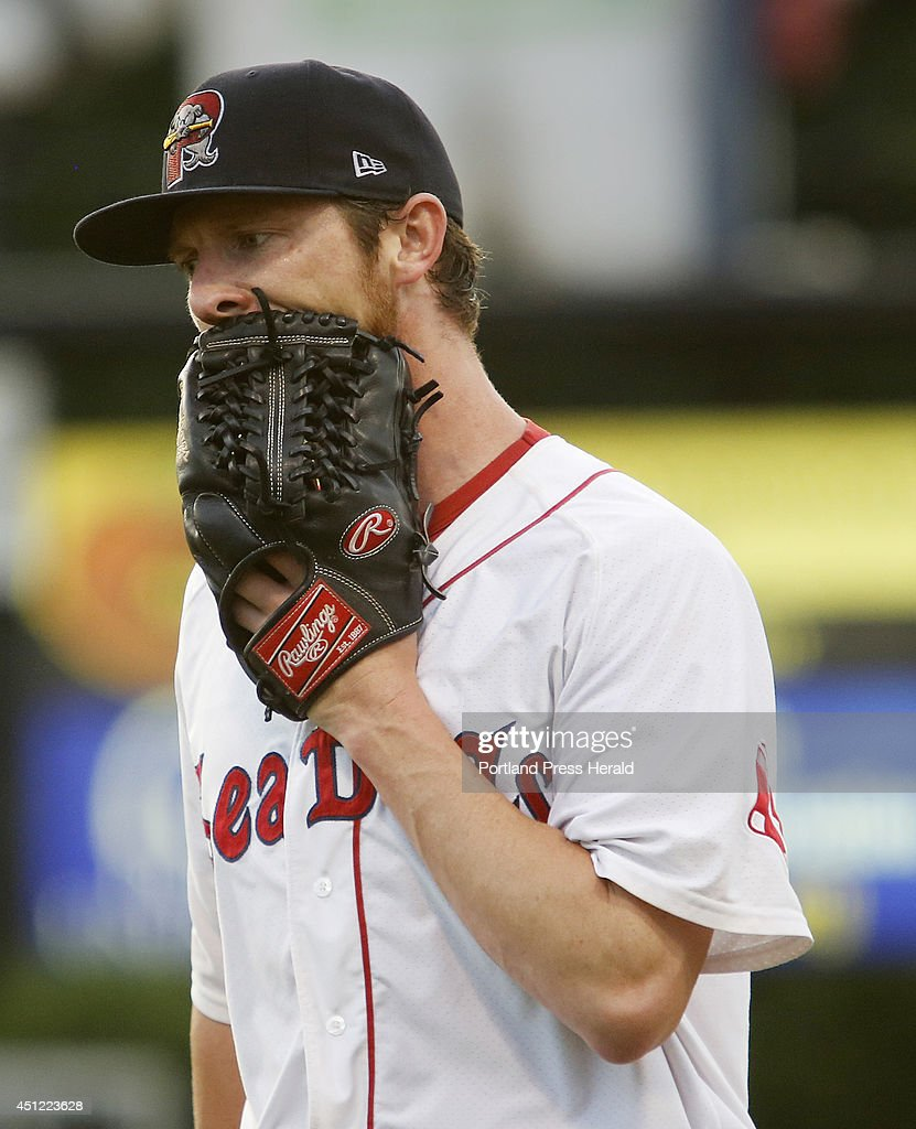Mike McCarthy of Portland has some choice words for his glove after giving up three runs to New Hampshire during the 4th inning.