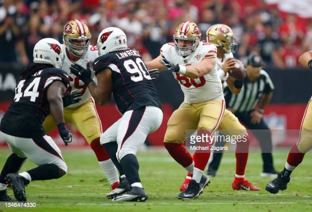 Mike McGlinchey and Daniel Brunskill of the San Francisco 49ers block during the game against the Arizona Cardinals at State Farm Stadium on October...