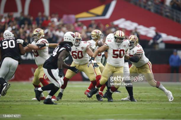 Mike McGlinchey, Daniel Brunskill, Alex Mack and Laken Tomlinson of the San Francisco 49ers block during the game against the Arizona Cardinals at...