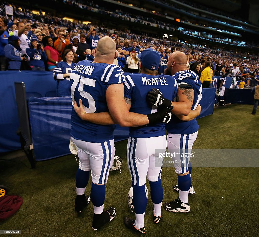 Mike McGlynn #75, Pat McAfee #1 and A.Q. Shipley #62 of the Indianapolis Colts pose for a picture after a win against the Houston Texans at Lucas Oil Stadium on December 30, 2012 in Indianapolis, Indiana. The Colts defeated the Texans 28-16.
