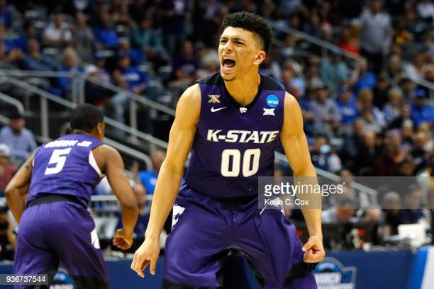Mike McGuirl of the Kansas State Wildcats reacts after a play in the second half against the Kentucky Wildcats during the 2018 NCAA Men's Basketball...