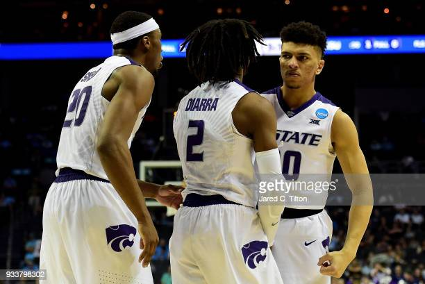 Mike McGuirl of the Kansas State Wildcats reacts after defeating the UMBC Retrievers 5043 during the second round of the 2018 NCAA Men's Basketball...