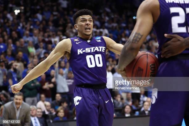Mike McGuirl of the Kansas State Wildcats reacts late in the second half against the Kentucky Wildcats during the 2018 NCAA Men's Basketball...