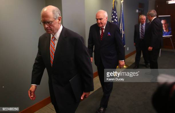 Mike McKay National Association of Former US Attorneys and others file out of the room after a press conference at the US Attorney's OfficeWestern...