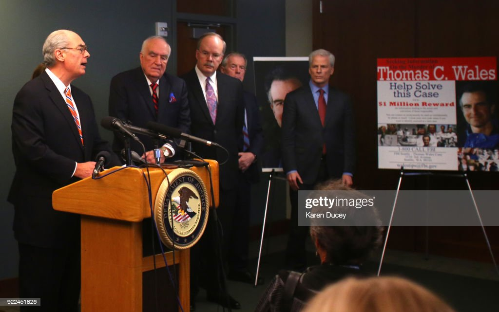 Mike McKay, National Association of Former U.S. Attorneys, speaks at a press conference on the investigation into the murder of federal prosecutor Tom Wales on on February 21, 2018 in Seattle, Washington.