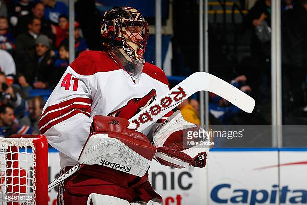 Mike McKenna of the Arizona Coyotes skates against the New York Islanders at Nassau Veterans Memorial Coliseum on February 24 2015 in Uniondale New...