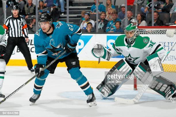 Mike McKenna of the Dallas Stars defend Joonas Donskoi of the San Jose Sharks at SAP Center on April 3 2018 in San Jose California