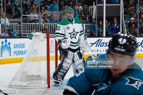 Mike McKenna of the Dallas Stars defends the net against the San Jose Sharks at SAP Center on April 3 2018 in San Jose California Mike McKenna