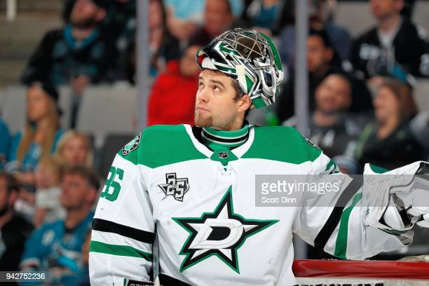 Mike McKenna of the Dallas Stars looks up during a NHL game against the San Jose Sharks at SAP Center on April 3 2018 in San Jose California Mike...