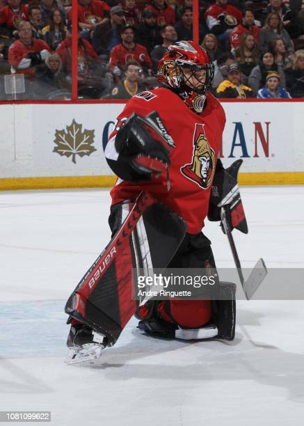 Mike McKenna of the Ottawa Senators makes a save against the Boston Bruins at Canadian Tire Centre on December 9 2018 in Ottawa Ontario Canada