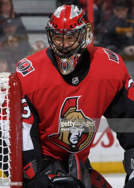 Mike McKenna of the Ottawa Senators tends net against the Boston Bruins at Canadian Tire Centre on December 9 2018 in Ottawa Ontario Canada