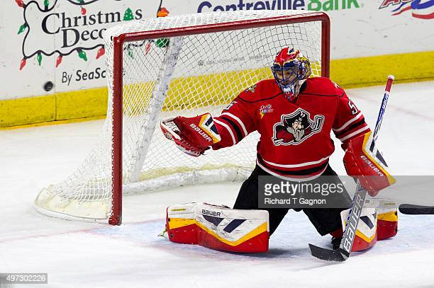 Mike McKenna of the Portland Pirates makes a save against the Providence Bruins during an American Hockey League game at the Dunkin' Donuts Center on...