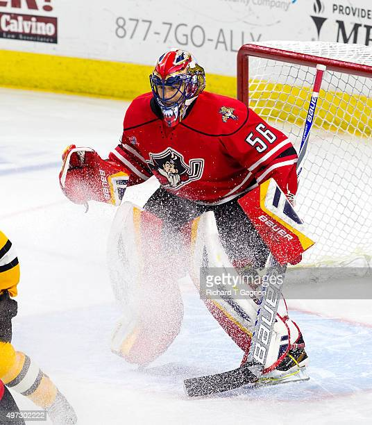 Mike McKenna of the Portland Pirates tends goal against the Providence Bruins during overtime of an American Hockey League game at the Dunkin' Donuts...