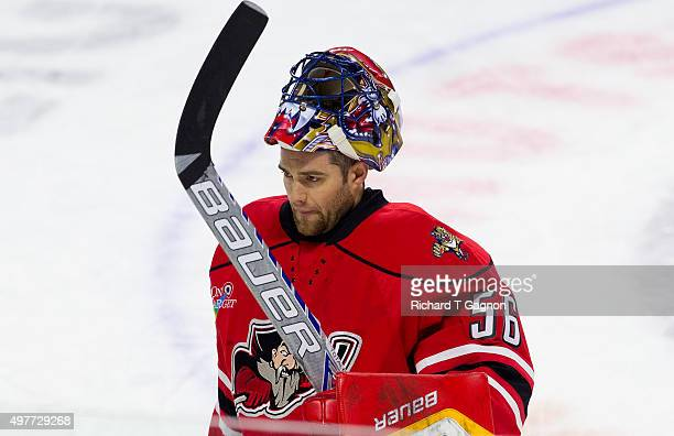Mike McKenna of the Portland Pirates warms up before an American Hockey League game against the Providence Bruins at the Dunkin' Donuts Center on...