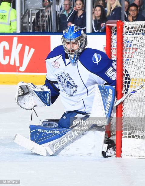 Mike McKenna of the Syracuse Crunch prepares for a shot against Toronto Marlies during game 6 action in the Division Final of the Calder Cup Playoffs...