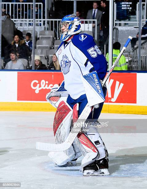 Mike McKenna of the Syracuse Crunch prepares for a shot against the Toronto Marlies on March 26 2017 at Ricoh Coliseum in Toronto Ontario Canada