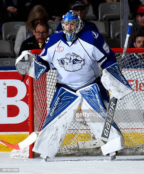 Mike McKenna of the Syracuse Crunch prepares for a shot against the Toronto Marlies during game 3 action in the Division Final of the Calder Cup...