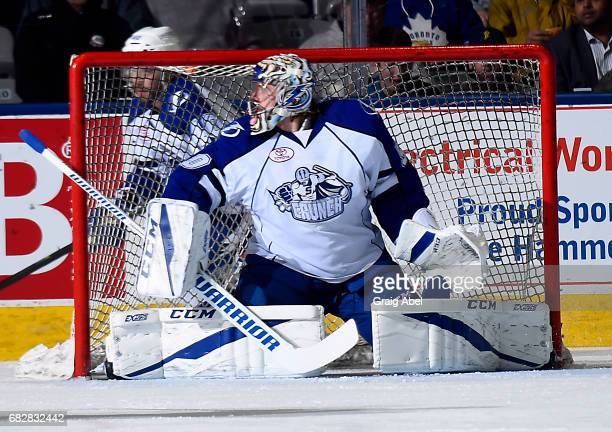 Mike McKenna of the Syracuse Crunch prepares for a shot against the Toronto Marlies during game 4 action in the Division Final of the Calder Cup...