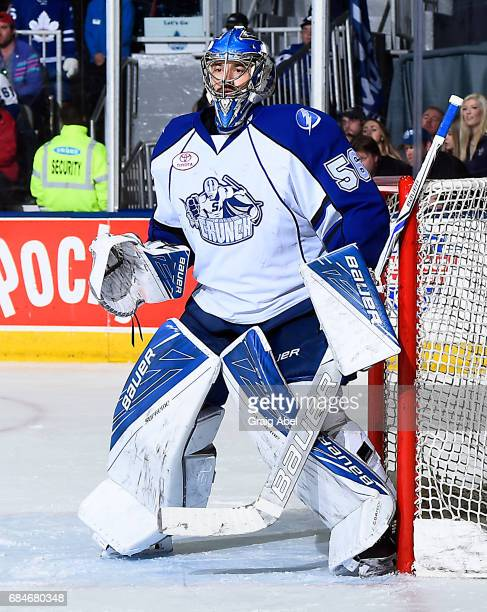 Mike McKenna of the Syracuse Crunch prepares for a shot against the Toronto Marlies during game 6 action in the Division Final of the Calder Cup...