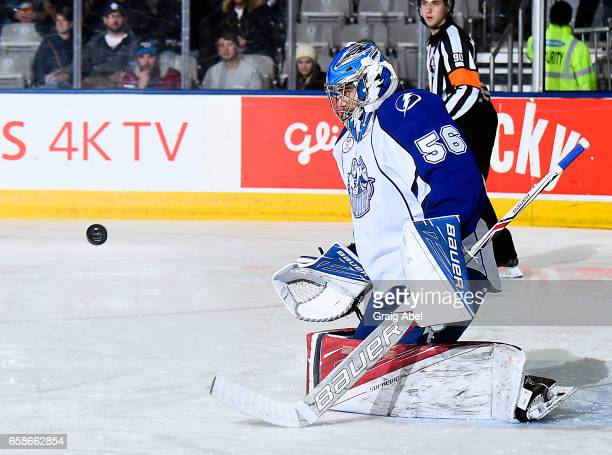 Mike McKenna of the Syracuse Crunch stops a shot against the Toronto Marlies on March 26 2017 at Ricoh Coliseum in Toronto Ontario Canada