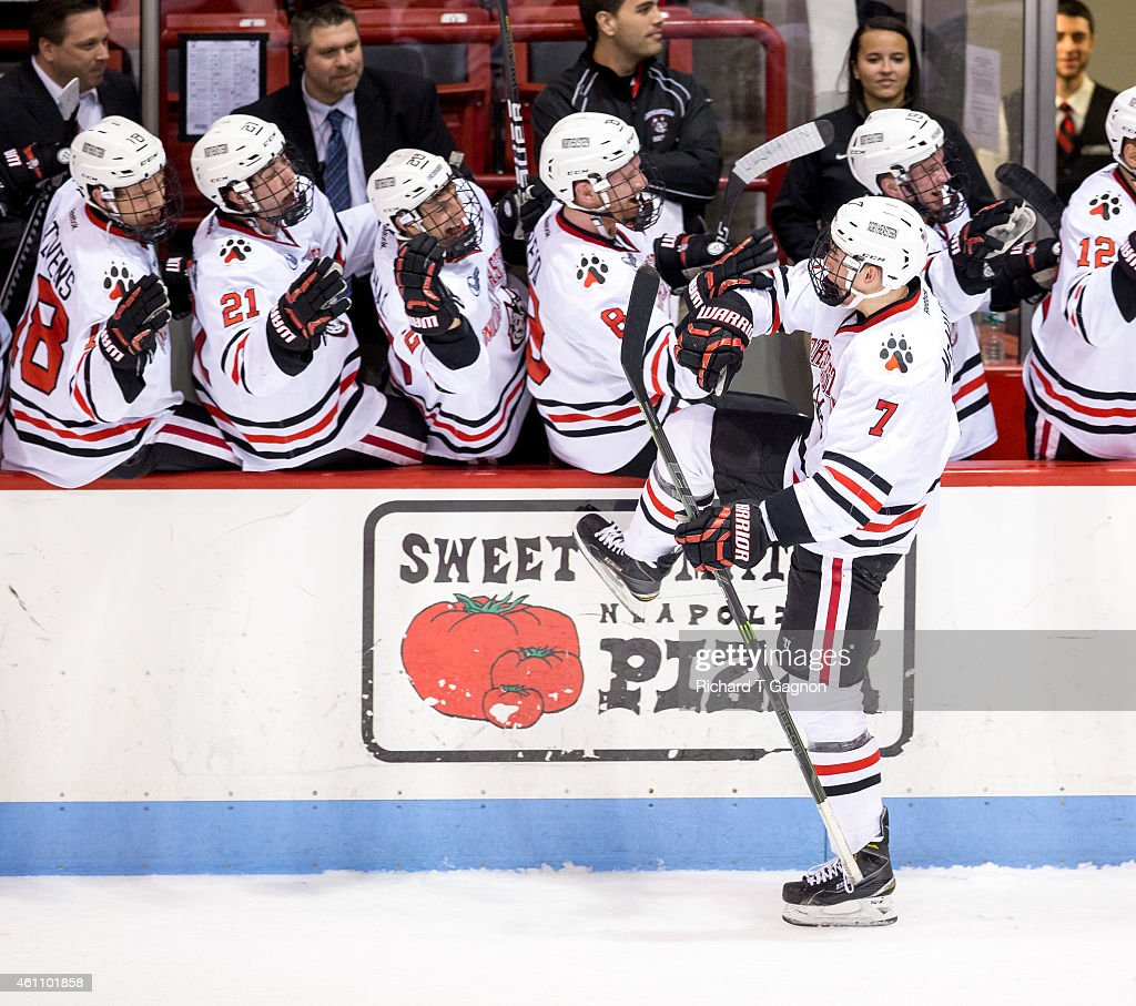 Mike McMurtry #7 of the Northeastern Huskies celebrates with his teammates after he scored the game-winning goal in the final minutes of play during NCAA hockey against the Yale Bulldogs at Matthews Arena on January 6, 2015 in Boston, Massachusetts. The Huskies won 3-2.