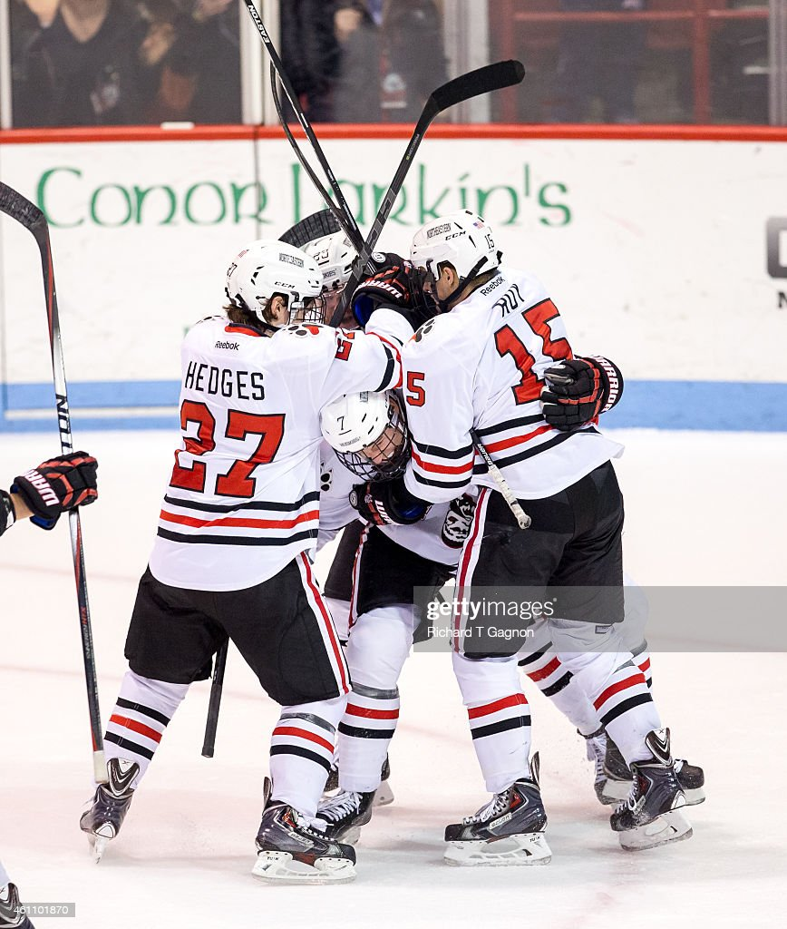 Mike McMurtry #7 of the Northeastern Huskies celebrates with his teammates Kevin Roy #15, Dalen Hedges #27 and Colton Saucerman #23 after he scored the game-winning goal in the final minutes against the Yale Bulldogs during NCAA hockey at Matthews Arena on January 6, 2015 in Boston, Massachusetts. The Huskies won 3-2.