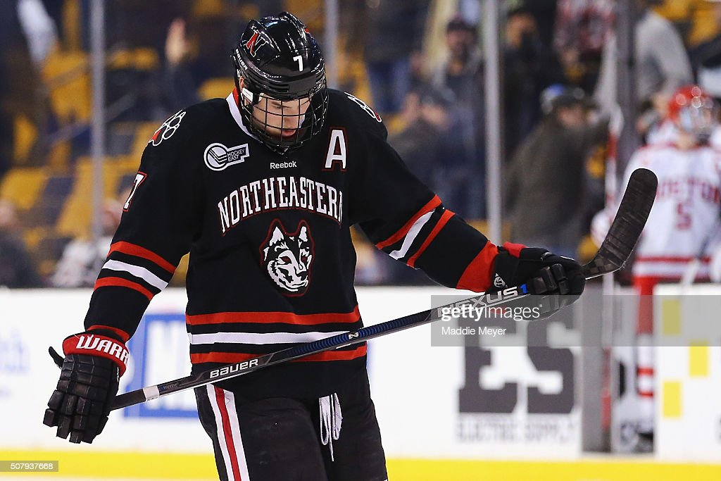 Mike McMurtry #7 of the Northeastern Huskies reacts after the Huskies 3-1 loss to the Boston University Terriers at TD Garden on February 1, 2016 in Boston, Massachusetts.