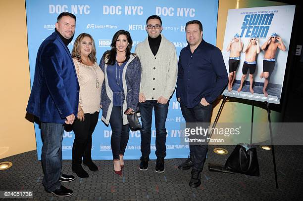 """Mike McQuay, Maria McQuay, Jacqueline Laurita, Mikey McQuay Jr. And Chris Laurita attend the New York premiere of """"Swim Team"""" at DOC NYC on November..."""