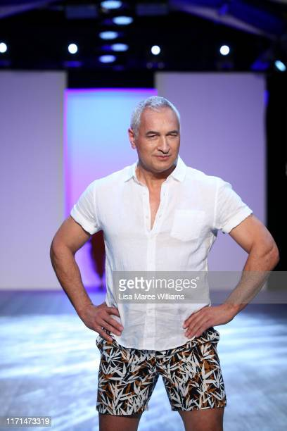 Mike McRoberts walks the runway during the Mercy Hospice show at New Zealand Fashion Weekend 2019 on September 01 2019 in Auckland New Zealand