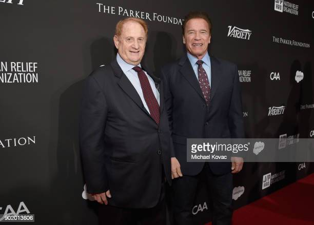 Mike Medavoy and Arnold Schwarzenegger attend the 7th Annual Sean Penn Friends HAITI RISING Gala benefiting J/P Haitian Relief Organization on...