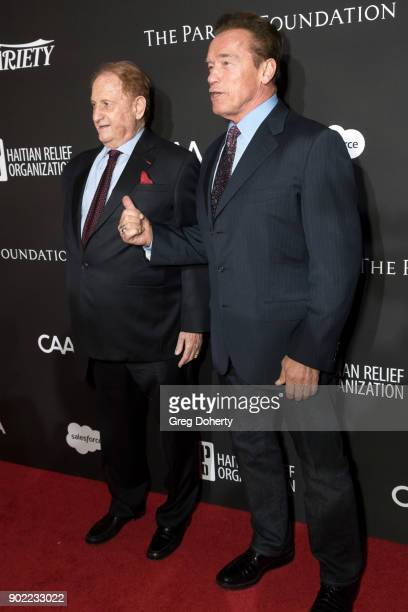 Mike Medavoy and Arnold Schwarzenegger attend the SEAN PENN J/P HRO GALA A Gala Dinner to Benefit J/P Haitian Relief Organization and a Coalition of...