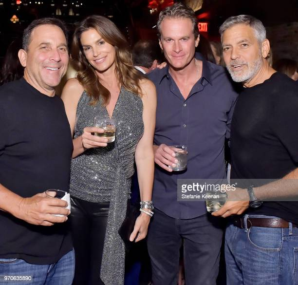 Mike Meldman Cindy Crawford Rande Gerber and George Clooney at the Casamigos House of Friends Dinner on June 8 2018 in Hollywood California