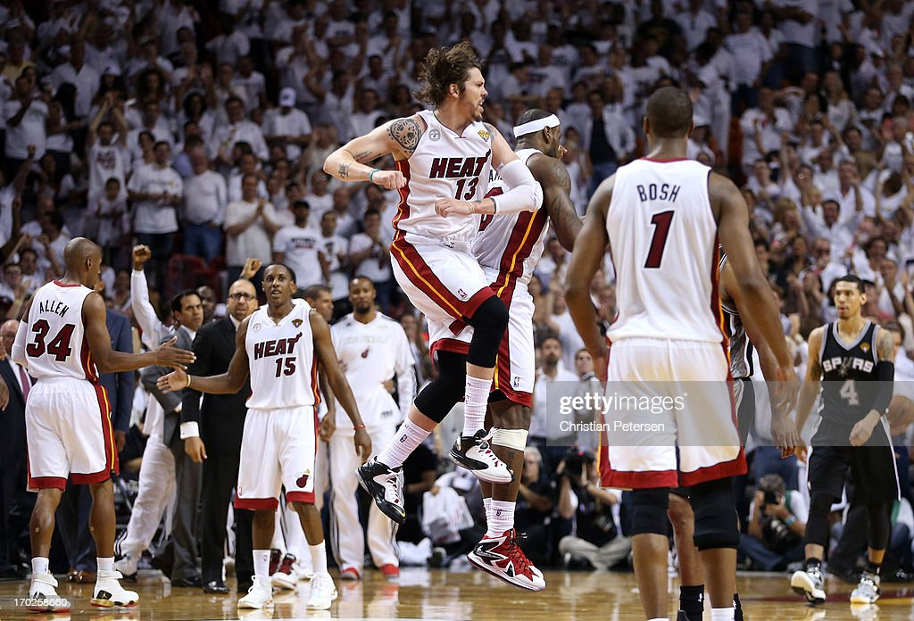 Mike Miller #13 and LeBron James #6 of the Miami Heat celebrate while taking on the San Antonio Spurs in the fourth quarter during Game Two of the 2013 NBA Finals at AmericanAirlines Arena on June 9, 2013 in Miami, Florida.