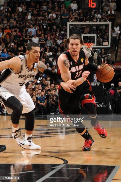 Mike Miller of the Miami Heat drives to the basket against Danny Green of the San Antonio Spurs during Game Four of the 2013 NBA Finals against the...