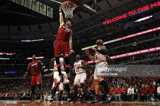 Mike Miller of the Miami Heat dunks against the Chicago Bulls in Game Five of the Eastern Conference Finals during the 2011 NBA Playoffs on May 26,...