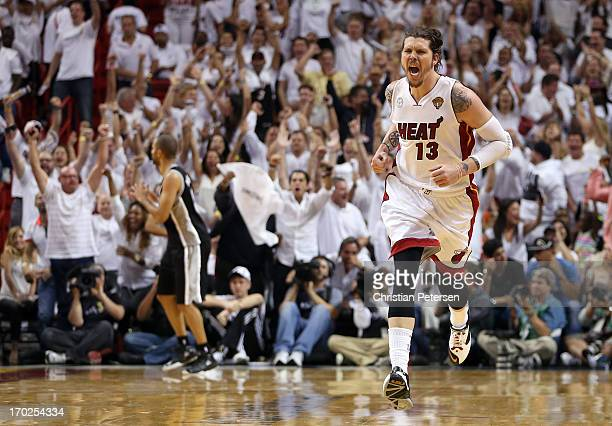 Mike Miller of the Miami Heat reacts after making a three-pointer in the fourth quarter against the San Antonio Spurs during Game Two of the 2013 NBA...