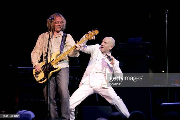 Mike Mills and Michael Stipe of REM during Bruce Springsteen and REM Vote For Change Concert Tour Kickoff in Philadelphia October 1 2004 at Wachovia...
