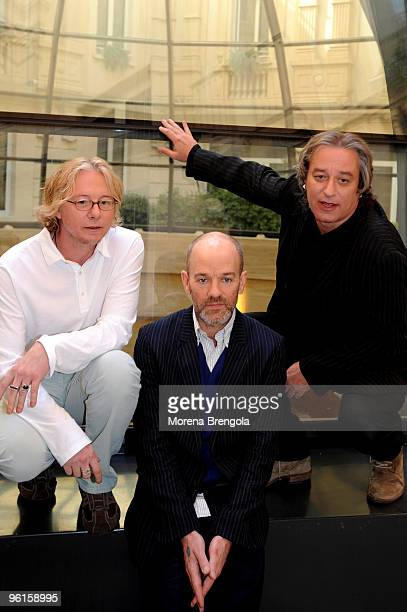 Mike Mills Michael Stipe and Peter Buck of the American band REM pose for a group portrait at the launch of their album 'Accelerate' on March 18th...