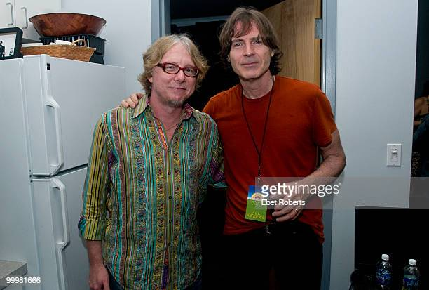 Mike Mills of REM and Jody Stephens of Big Star backstage at tribute to Alex Chilton held at Levitt Shell at Overton Park on May 15 2010 in Memphis...
